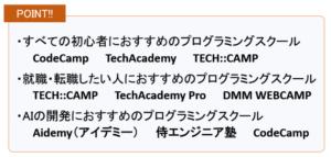 初心者におすすめのプログラミングスクール9選