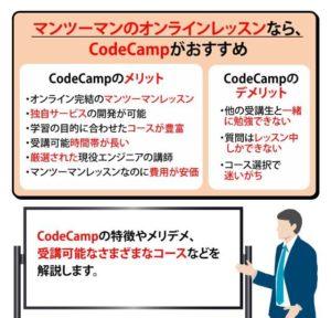 【CodeCamp】各コースの特徴やメリデメ・費用・転職サポートを解説